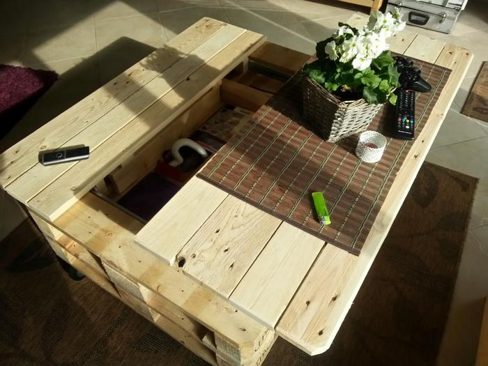 Make a lift top coffee table out of pallets diy projects for everyone - How to make table out of wood pallets ...
