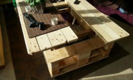 Make a lift top coffee table out of pallets…