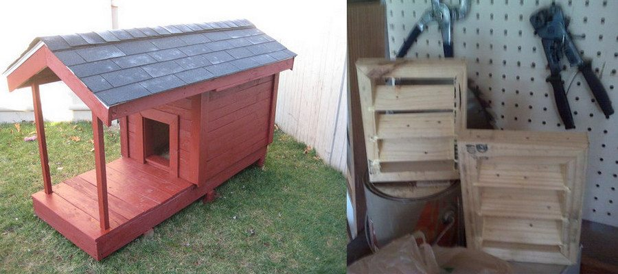 My pallet kennel complete with deck and gable vents