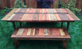 DIY Reclaimed Wood Picnic Table with Planter