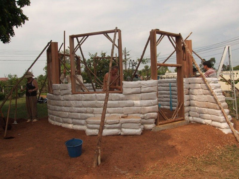 Earthbag walls at about the half way point.