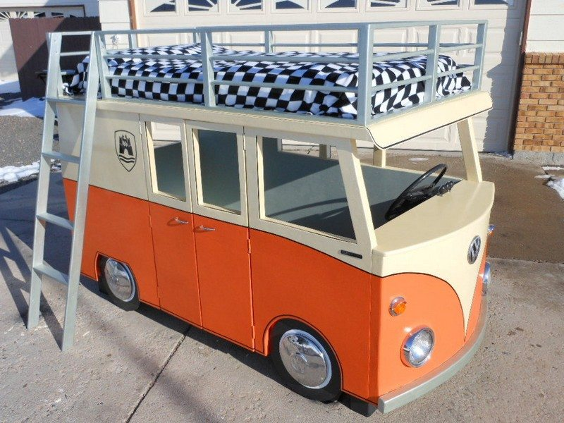 DIY VW Micro-Bus Bunk Bed and Playhouse