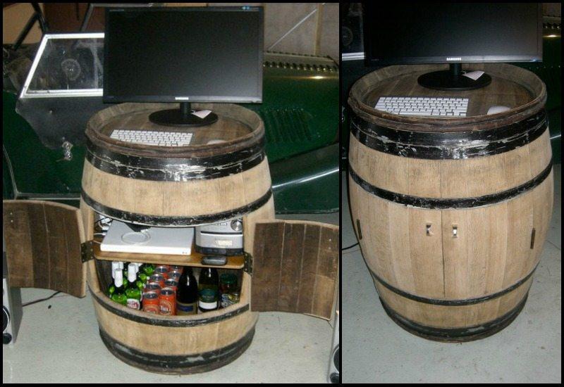 DIY Oak Barrel Bar