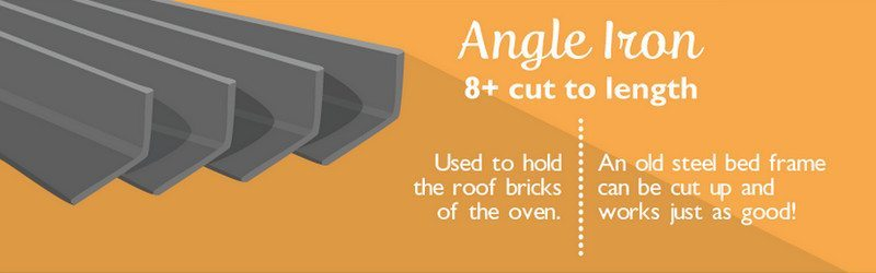 The angle iron is used to support the bricks around your pizza oven's opening.
