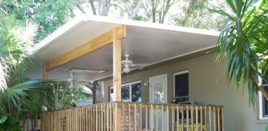 A wide span, insulated skillion roof