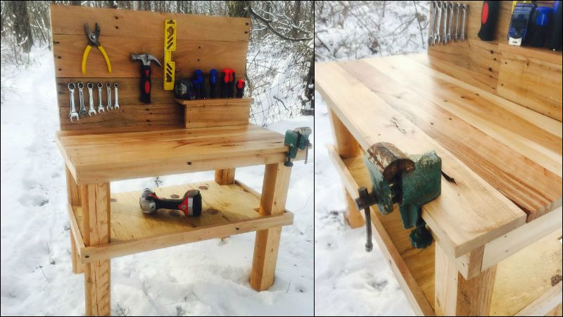Kids Pallet Workbench Finished Product