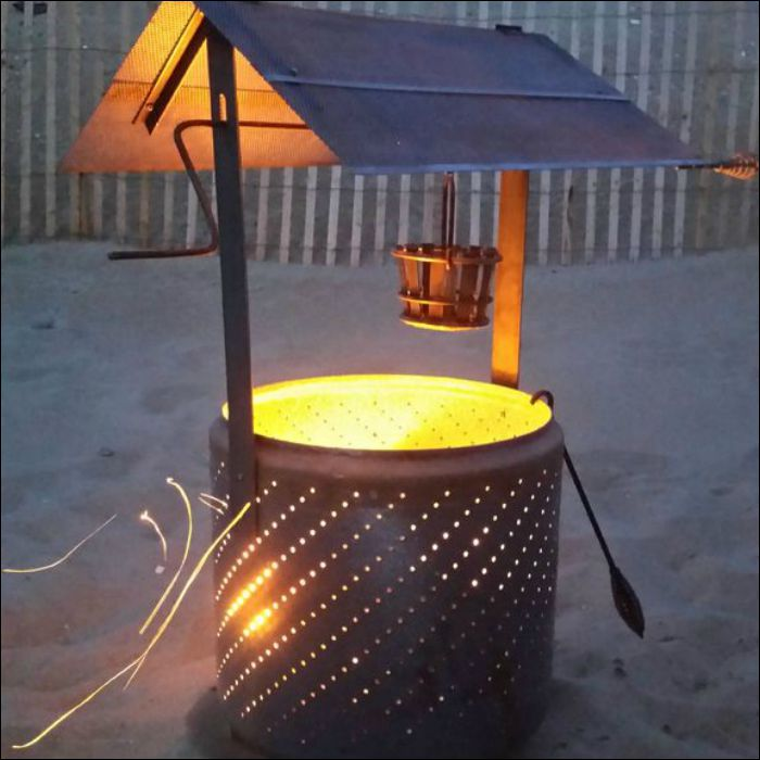 Build a wishing well burn barrel from an old washing machine drum