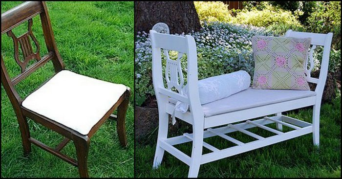 build a garden bench from two old dining chairs diy projects for