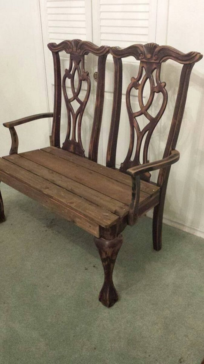 Build a Garden Bench From Two Old Dining Chairs | DIY projects for ...
