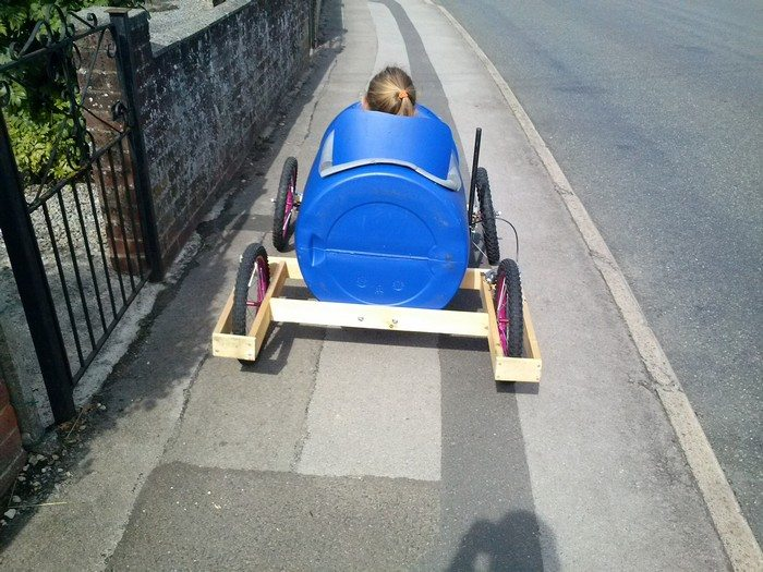 Plastic barrel soap box derby cart | DIY projects for ...