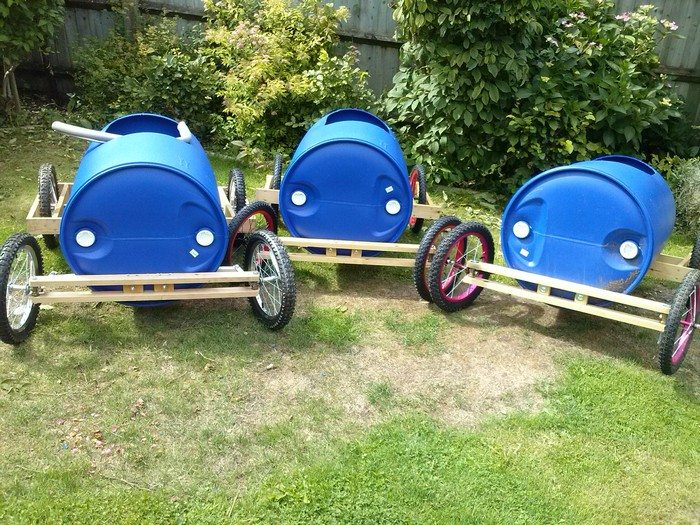 Plastic barrel soap box derby cart