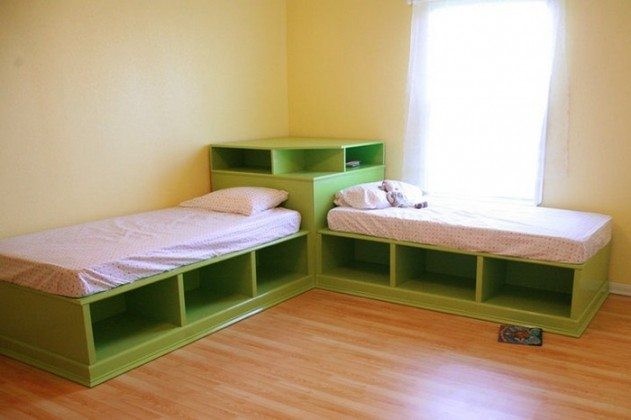 How to Build Twin Corner Beds With Storage | DIY projects ...