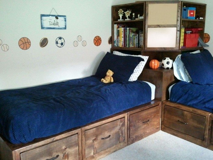 How to build twin corner beds with storage diy projects for Boys twin bed with storage