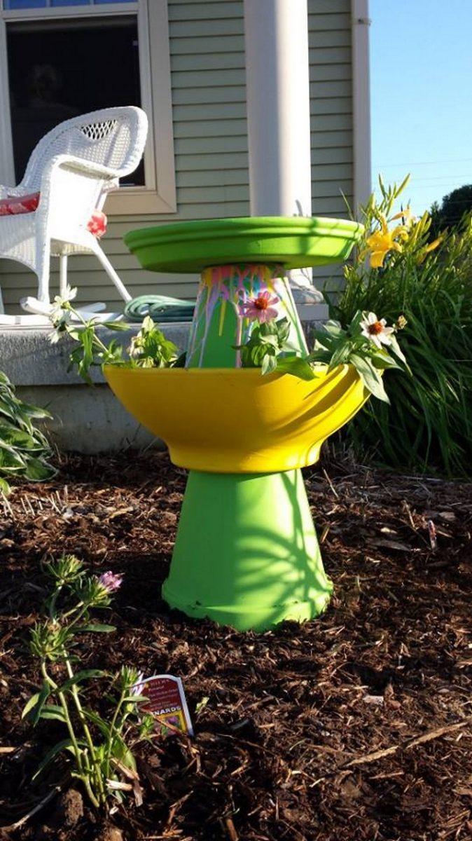 Clay Pot Bird Bath & Turn clay flower pots into a brilliant bird bath