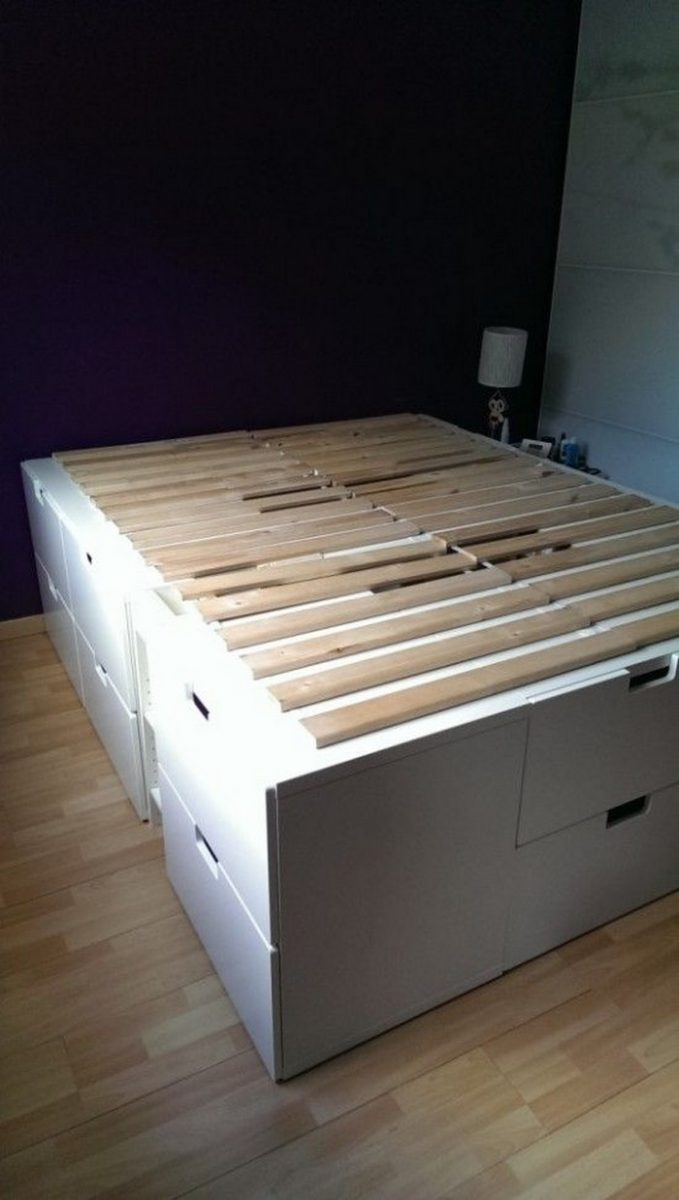 Platform bed with storage made from kitchen cabinets ...