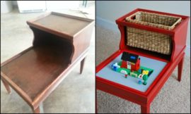Brilliant DIY tables for storing and playing with Lego