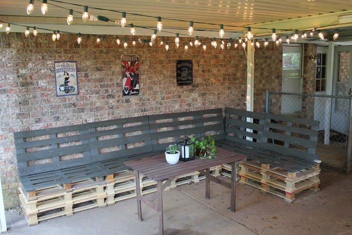 Turn old pallets into patio furniture