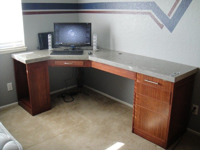 Build a custom polished concrete desk