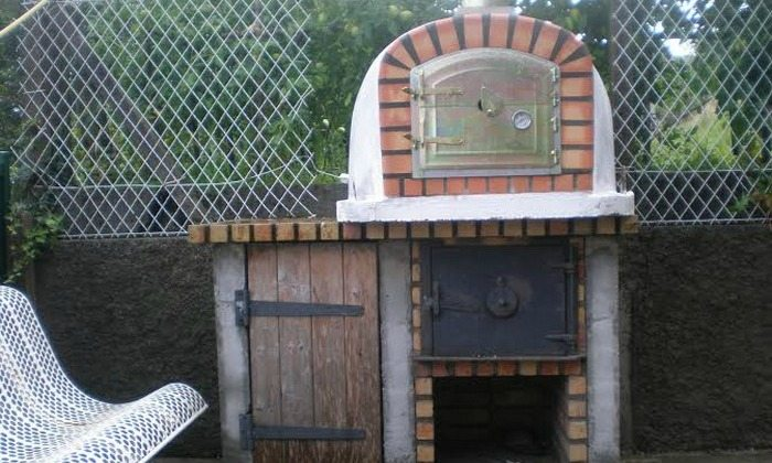 Portuguese wood fired brick pizza oven