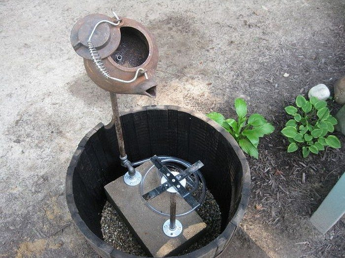 Make a fountain from a recycled tea pot diy projects for for Build your own fountain outdoor