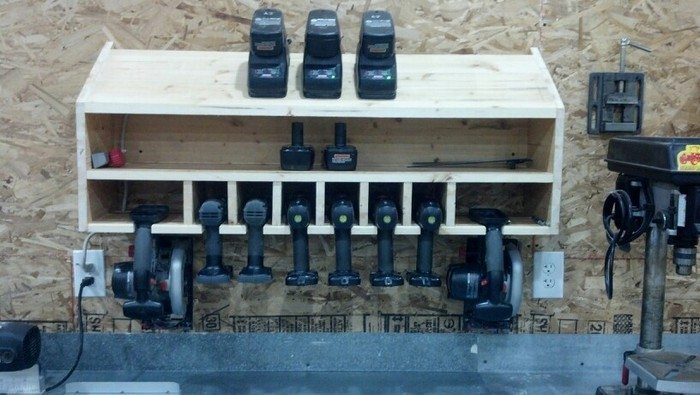 Cordless drill storage and charging station | DIY projects ...