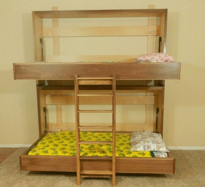 Here's a video demonstration of the completed murphy bunk bed:
