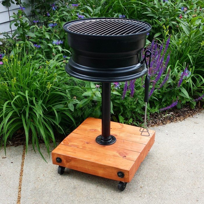 How to build a no-weld tire rim grill