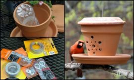 Turn a terra cotta flower pot into a bird feeder