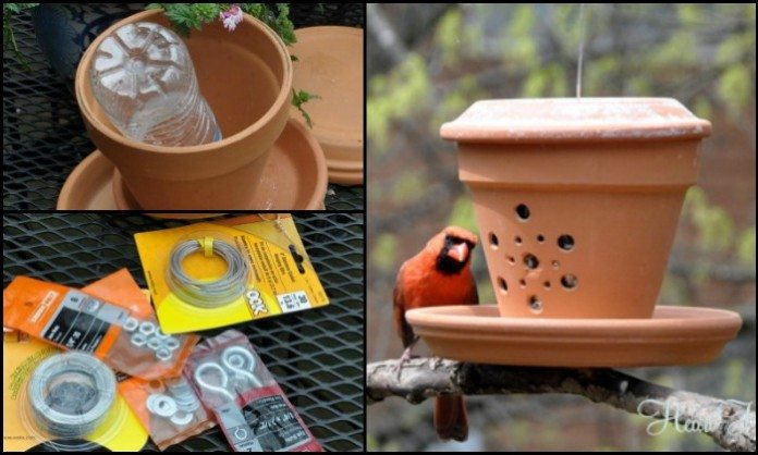 Terra Cotta Pot Bird Feeder Main Image