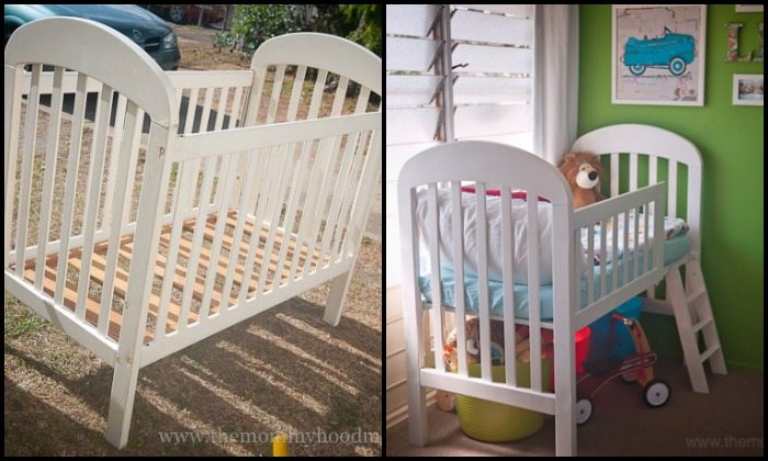 Turn an old crib into a toddler bed