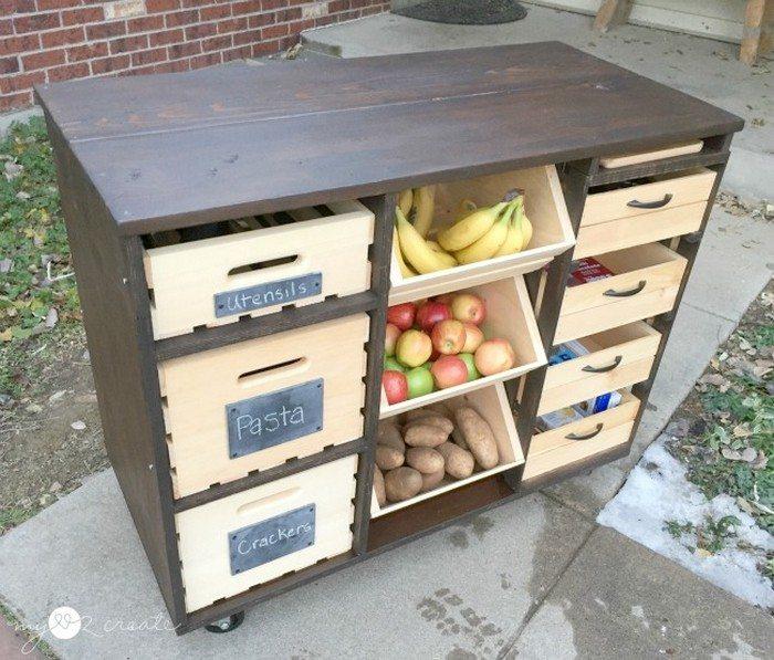 DIY Kitchen Island Wooden Crate Pantry Storage