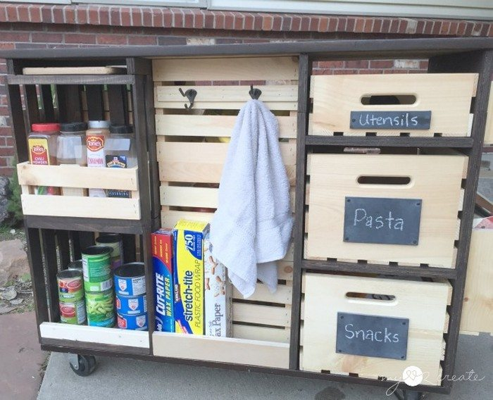 build a mobile kitchen island unit with timber crate pantry storage