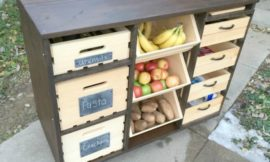 Build a mobile kitchen island unit with timber crate pantry storage!