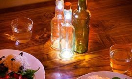 Turn a glass bottle into a simple decorative lantern