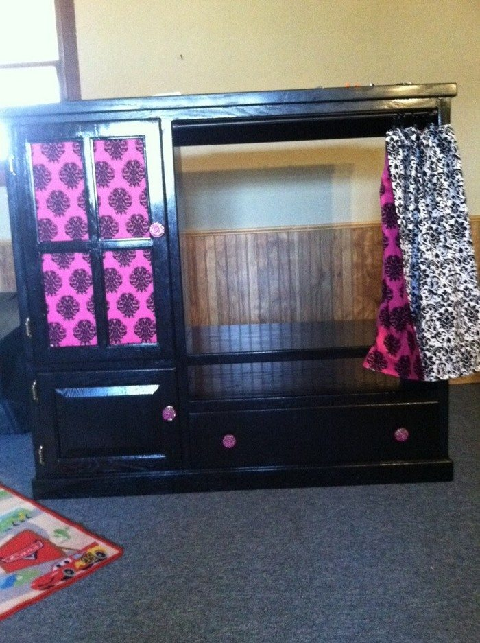 Turn an entertainment center into a kids' armoire | DIY ...