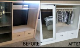 Turn an entertainment center into a kids' armoire