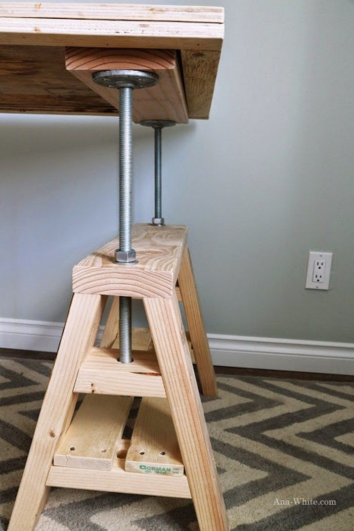 How To Build An Adjustable Sawhorse Desk Coffee Table