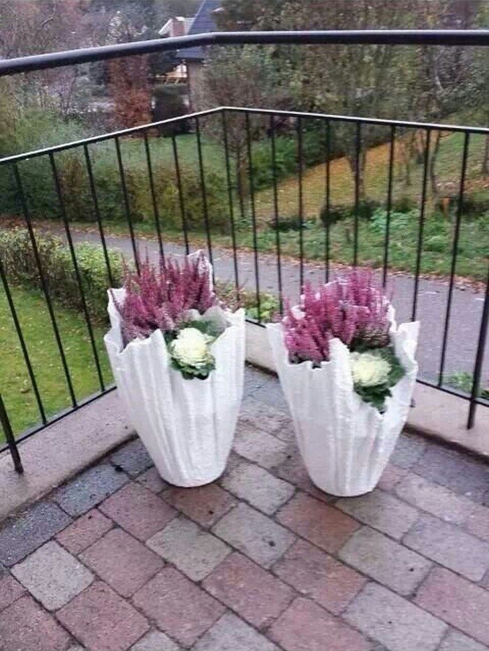 how to make concrete planters with cloth