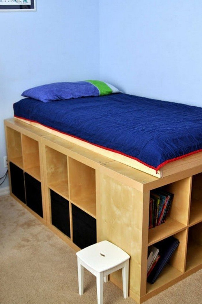 Build an inexpensive bed with storage using bookcases | DIY projects ...
