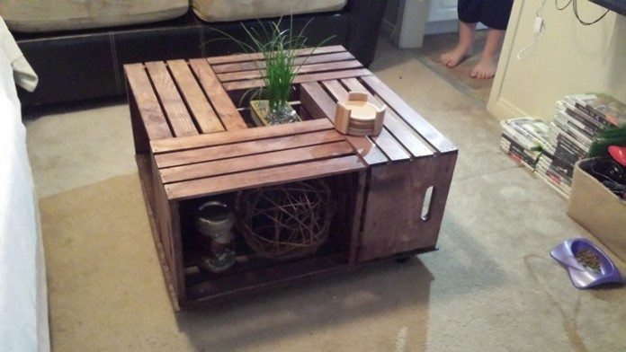 How to build a crate coffee table diy projects for everyone for Coffee table made out of wooden crates