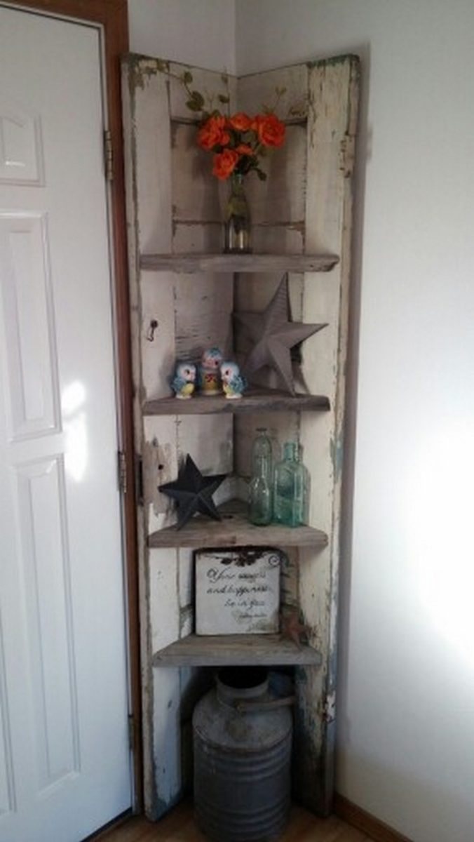 Turn An Old Door Into A Corner Shelf DIY Projects For