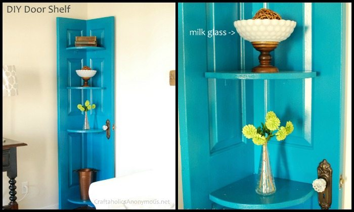 Turn an old door into a corner shelf