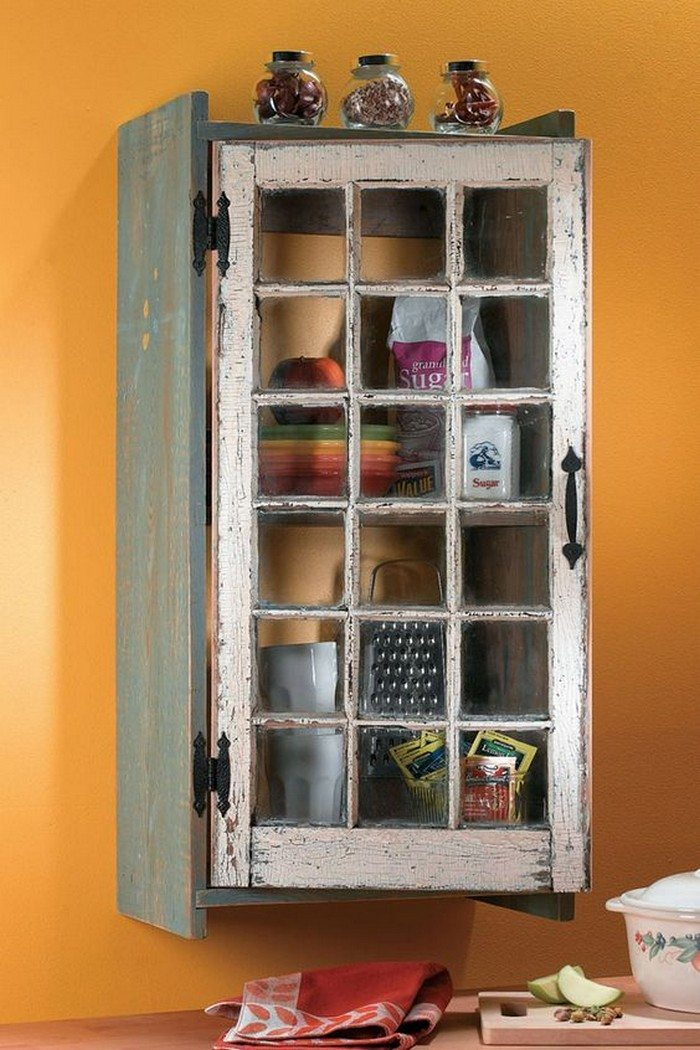 Turn an old window into a cabinet diy projects for everyone for Kitchen door with window
