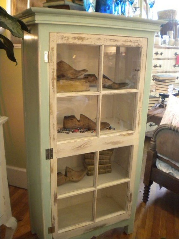 Turn an old window into a cabinet diy projects for everyone - Cabinet made from old doors ...