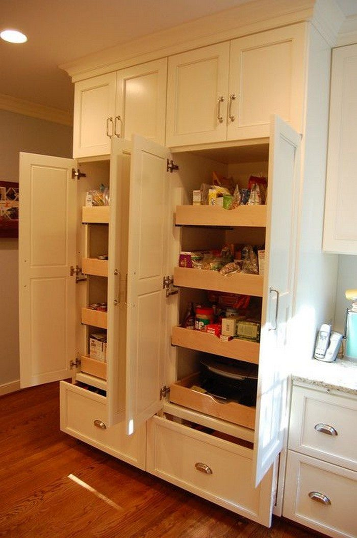 How to build pull out pantry shelves diy projects for for Sliding drawers for kitchen cabinets