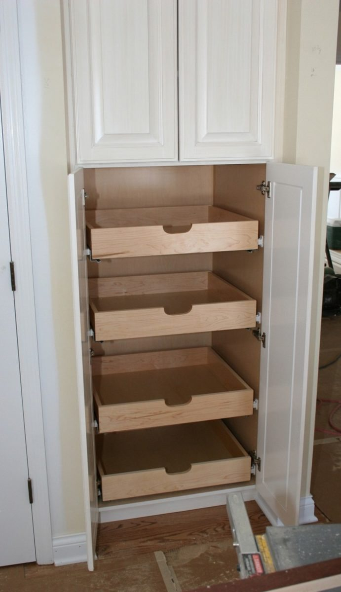 How to build pull out pantry shelves diy projects for for Pull out drawers for kitchen cabinets