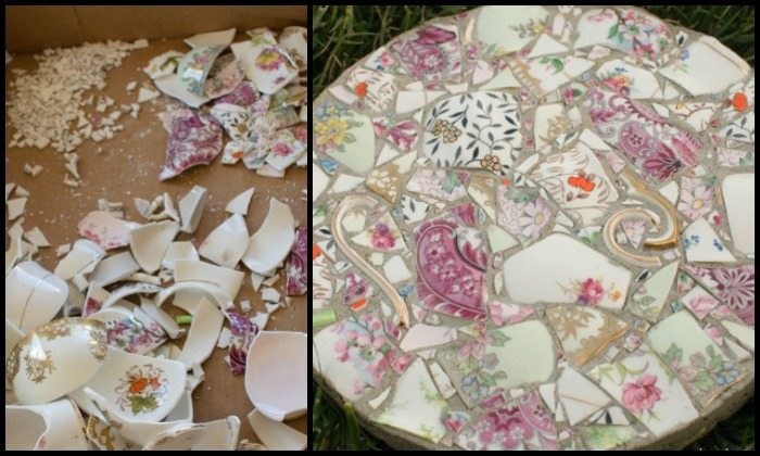 Make gorgeous stepping stones from broken china
