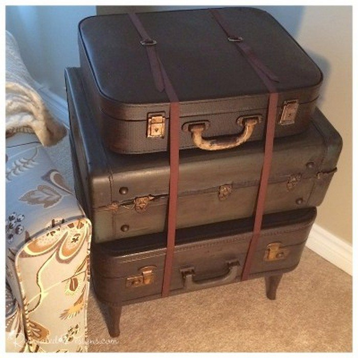 22 Gel Stain Kitchen Cabinets As Great Idea For Anybody: Upcycled Vintage Suitcase Side Table