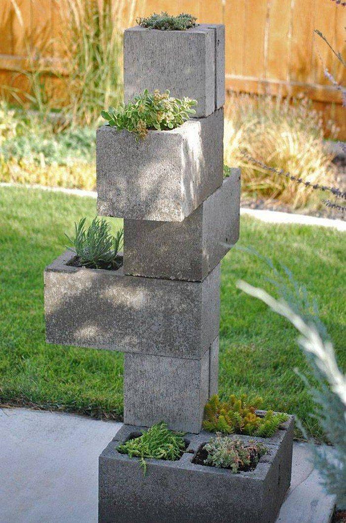 Vertical garden from cinder blocks