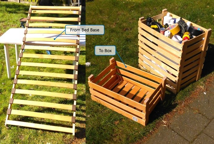 How to turn an old bed base into boxes